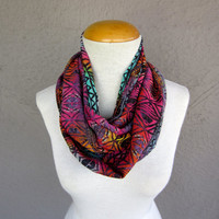 Tribal Infinity Scarf - Multicolor Chiffon Scarf - Tribal Print Circle Scarf - Colorful Summer Scarf