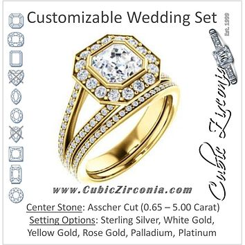 CZ Wedding Set, featuring The Maricela engagement ring (Customizable Bezel-Halo Asscher Cut Ring with Wide Tapered Pavé Split Band & Decorative Trellis)