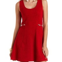 Zipper-Waist Textured Skater Dress by Charlotte Russe