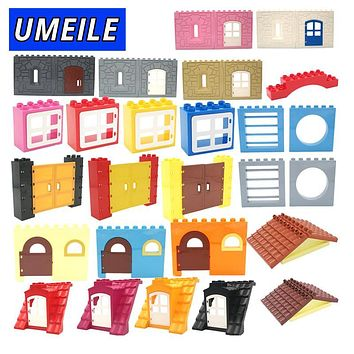 UMEILE Brand City House Castle Castle Wall Door Window Roof Large Building Blocks Diy Create Baby Toys Compatible with Duplo