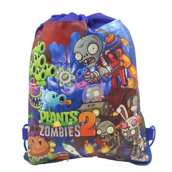 12Pcs Plants vs Zombies Drawstring Boys Girls Cartoon School Bag Children Printing School Backpacks for Birthday Party Gifts