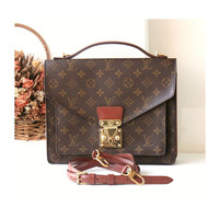 Louis Vuitton Bag Monogram Monceau Brown Tote Shoulder Handbag Authentic Vintage