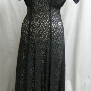 Vintage 1930s Plus Size Cotton LACE EVENING DRESS  Prom Gown Garden Party Bust 48""