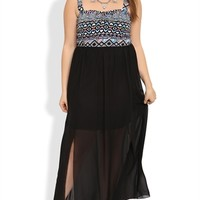 Plus Size Maxi Dress with Neon Tribal Bodice and Chiffon Carwash Hem