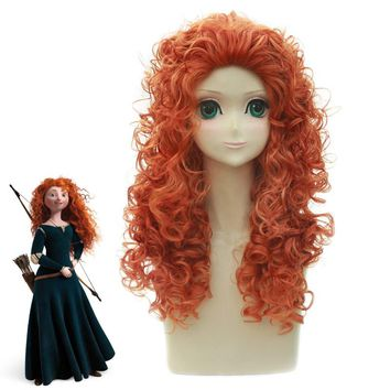 Anime Brave Princess Merida Curly wig Cosplay Costume Mei lida Women Synthetic Hair Halloween Party Role Play wigs