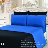 Tache 6 Piece 100% Cotton Solid Reversible Deep Blue Duvet Cover Set, Full