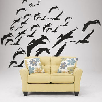 Wall Decal Vinyl Sticker Art Decor Design birds seagulls flock South nature pelican silhouette ecology street city bedroom living room (i83)