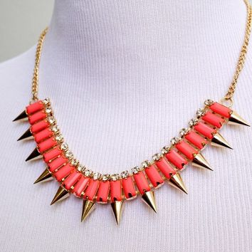 Neon Spike Statement Necklace in Coral Acrylic Rhinestones