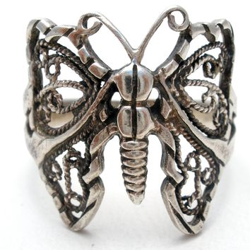 Filigree Butterfly Ring Sterling Silver Size 9