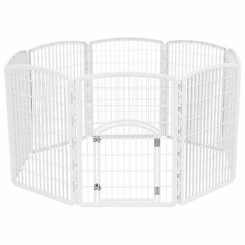 Iris White Eight Panel Pet Containment Pen with Door | Petco