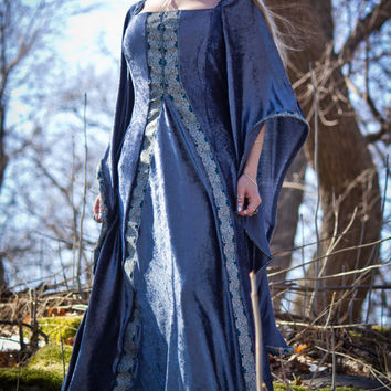 Blue/grey elven-fantasy dress