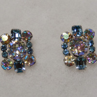 Blue Rectangular Rhinestone Clip On Earrings