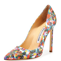 BB Satin 115mm Pump, Floral (Made to Order)
