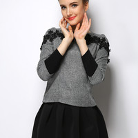 Lace Accent Long Sleeve Top with Mini Skater Skirt Set