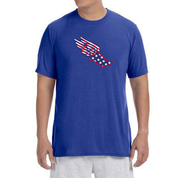 "Mens Short Sleeve Performance ""USA Pegasus"" Technical T-Shirt"