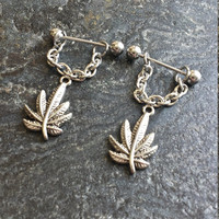 Marijuana Leaf - Set of 2 !! 14g (1.6mm) or 16g (1.2mm) Nipple Barbell Jewelry Piercings Accessory 14 16 Gauge