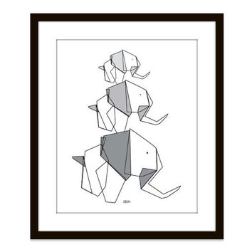 Elephant Family Wall Art Print Origami Grey Family Home Decor Geometric Office Art For Men - Fathers Day - Under 20