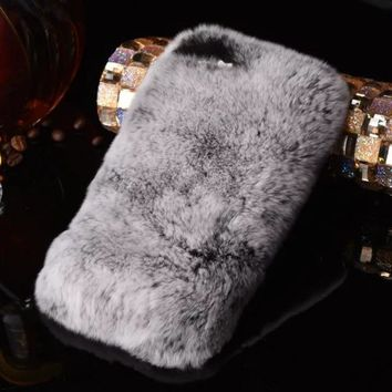 Luxury 3D Lazy Rabbit Fur Hair Diamond Case Rhinestone Crystal Phone Cover coque for iPhone X 8/8 Plus 7/6S/6 Plus 5S SE 5 5C 4S