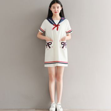COLLEGE OF WIND EMBROIDERY FIGHT COLOR COTTON AND LINEN SHORT SLEEVE DRESS TIDE
