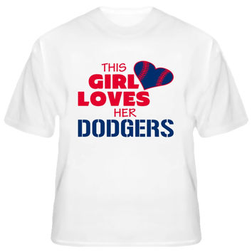 Youth This Girl Loves Her Dodgers Baseball T-Shirt