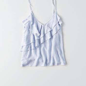 AEO Ruffle Front Cami, Blue