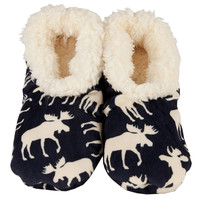 Blue Classic Moose Fuzzy Feet Womens Slippers