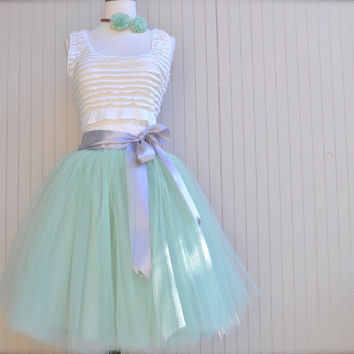 Soft mint  green tulle tutu skirt.  Tulle lined tea length skirt.