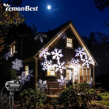 12 Types 8W LED Snowflake Effect Lights Outdoor Christmas Light Projector Garden Xmas Tree Decoration Landscape Lighting