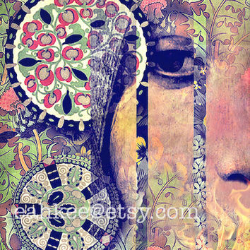 """Modern Art Print, Mixed Media Collage, Mod, Psychedelic, Abstract Art, Colorful Art, 8 x 10, """"Confession"""""""