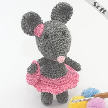 Miss Mini Mouse Soft Toy, Ornament With Her Mini Skirt & Hand Bag, Crochet, Amigurumi