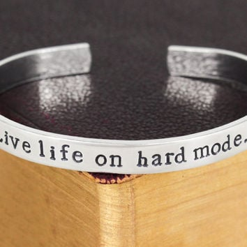 Live Life on Hard Mode - Gamer - Video Games - Aluminum Bracelet