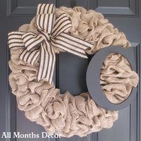 Burlap Wreath with Black Stripe Burlap Bow & Wooden Letter, Rustic Country, Spring Easter Fall, Year Round, Porch Door Decor