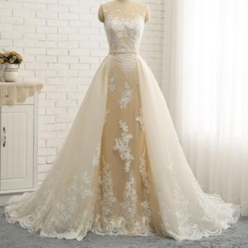 Quality Wedding Dresses With Detachable Tail New Champagne White Color Custom Made New Mermaid Wedding Dress