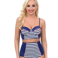 Navy & White Nautical Stripe Two Piece High Waisted Balconette Swimsuit