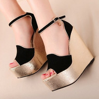 New Arrival Summer Fashion Women Shoes Wedges Heels Sequined Cloth Buckle Open Toe Platform Wedge 15CM Sandals 399A-5