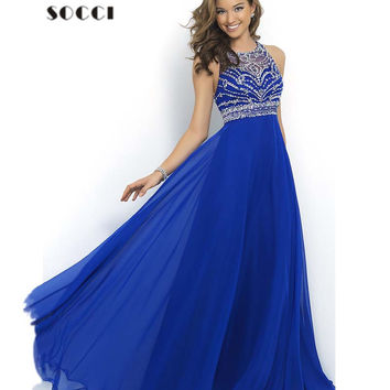 Royal Blue Chiffon Long Evening Dress 2016 New O-neck Cross Back Formal Wedding Party Gowns Robe de Soiree Longue Prom Dresses