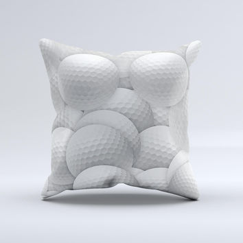 Golf Ball Overlay Ink-Fuzed Decorative Throw Pillow