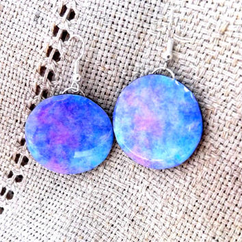Nebula earrings, Galaxy earrings, Space jewelry, Galaxy jewelry, Universe, Gift her, Night Sky, Nebula jewelry, Cosmic earrings,Blue jewelry