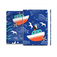 The Blue Vector Fish and Boat Pattern Skin Set for the Apple iPad Pro
