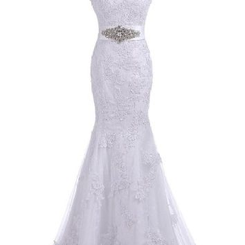 Bulutu Elegant Trumpet V-neck Long Lace Slim Cut Wedding Gown