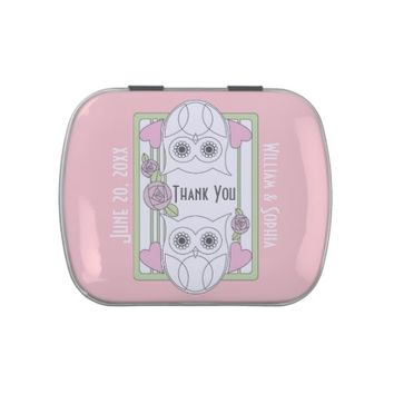 Retro Owls & Roses Love Pink Personalized Candy / After Dinner Mint Tins: Thank You: Wedding, Baby Shower, or Any Anniversary Party Favors