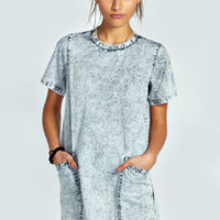 Sandy Acid Wash Shift Dress