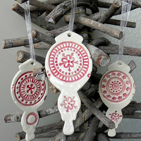 Christmas Ornaments Pottery Red White Lace Decoration Ceramic Ornament Set of 3 Wedding Gift
