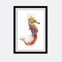 Sea horse print Nautical poster Sea horse decor warm colors ocean painting orange yellow modern art  living room watercolor design  W285