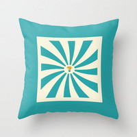 Teal Pillow Cover Circus Elephant Blue Cream Design Vintage Retro Pillow Case 16x16 18x18 20x20 Square