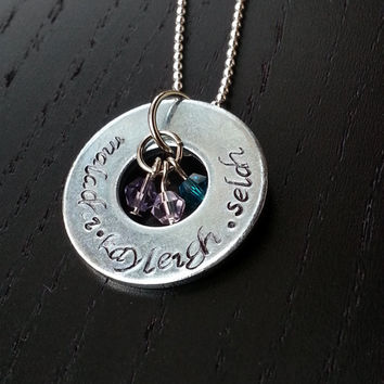 Kids Names and Birth Stones Necklace - FREE SHIPPING - personalized hand stamped washer necklace - custom family jewelry