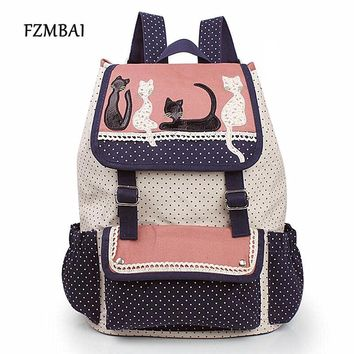FZMBAI 2017 fashion women backpack multicolor cat backpack high quality lady canvas backpack travel Bags