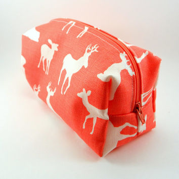 Coral and White Woodland Deer Makeup Bag, Gadget Case, Under 15, Pencil Case, Medium, Zippered, Cosmetic Case, For Her