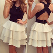 Black and White Crossback Cascade Ruffle Dress