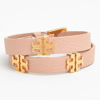 Women's Tory Burch 'Mini T' Leather Wrap Bracelet - Light Oak/ Shiny Gold